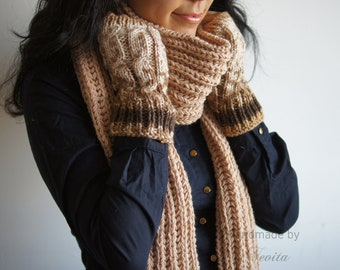 Beige brown knit scarf, Extra long knit scarf in natural,  Women knit scarf.