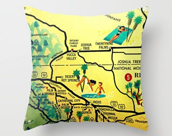 Palm Springs Pillow Cover, Palm Springs Wedding Gifts, Mid Century Palm Springs Gifts, Desert Wedding Gifts, California Map Throw Pillows