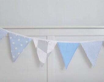Light blue and grey Flag Bunting (8), Light blue and grey Flag Garland, Light blue and grey Nursery Bunting - Polka dot, stripes, chevrons