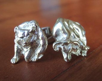 Bear and Bull Financial Cufflinks in Sterling Silver