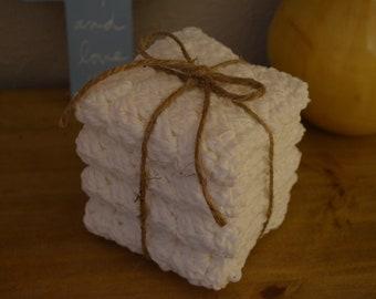 Crochet Wash Cloth Dish Cloths Handmade, 100% US Cotton (Set of 4)