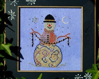 "Christmas Cross Stitch Instant Download Pattern ""Wintery Charm"" Chart. Snowman Design. Counted Embroidery. X Stitch. DIY Home Decor."