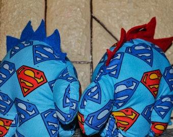 Nerdisaurus Handmade Handsewn DC Comics Superman Stuffed Stegosaurus Dinosaur Toy