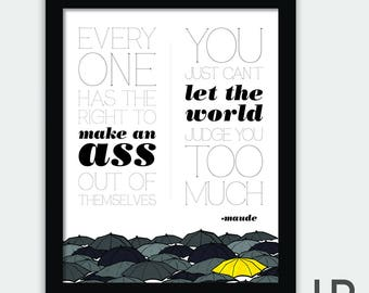 "Harold & Maude Movie Quote Poster Original • Digital Download Print • ""Everyone has the right to make an ass out of themselves..."""