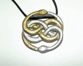 Neverending story antique gold necklace auryn necklace long auryn the never ending neverending story amulet necklace pendant snake painted double snake neverending mozeypictures Choice Image