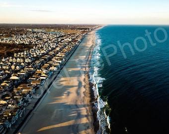 Manasquan beach, shadows at sunset, New Jersey