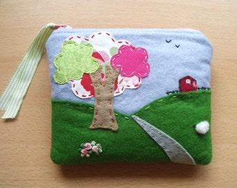 SOLD, but see description. Scenery, Embroidered, Hand Sewn, Fabric Rich Padded Felt Mobile Case and/or Purse