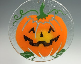 Halloween Suncatcher, Jack O Lantern, Window Hanging, Pumpkin Suncatcher, Fused Glass