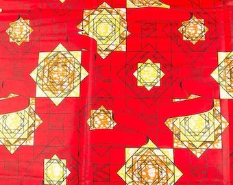African Textile Fabric Vetements Wax HOLLANTEX Red Yellow Orange Geometric Designs htw66302