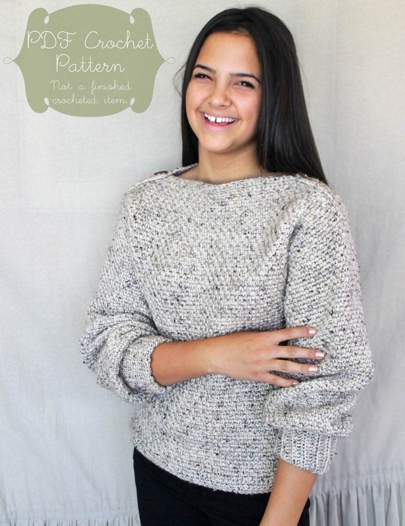 Crochet Pattern: The Autumn Sweater-6 Sizes Child XS Sm Med