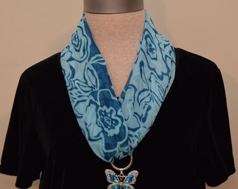 Blue flower scarf with big blue butterfly pendant set