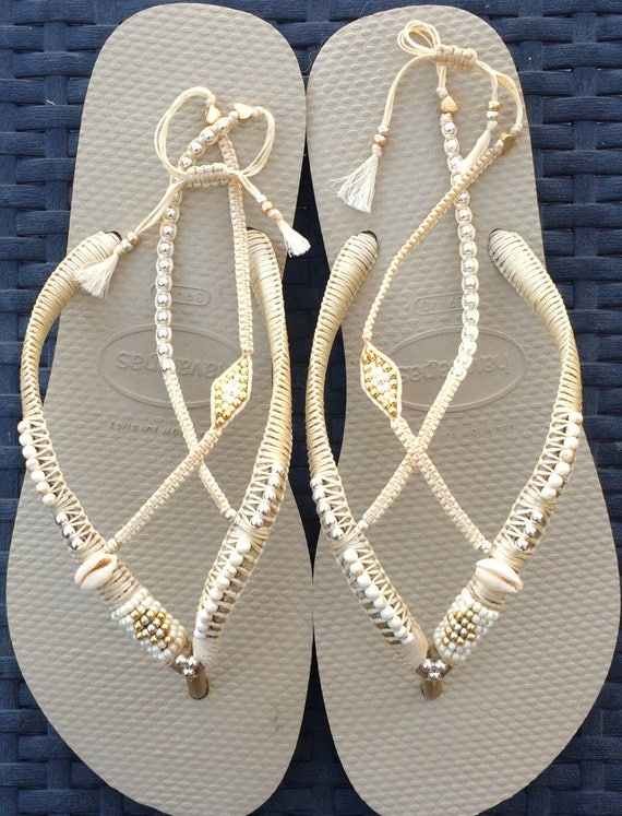 Silver gold wedding decorated flip flop sandals flat thong like this item junglespirit Gallery
