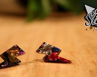 Lightning Bolt Earring Studs - Multi-Colour Glitter