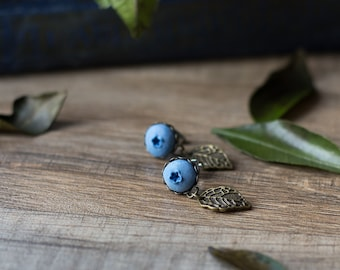 Blueberry post earrings - berry leaf jewelry - rustic woodland earrings - botanical forest berry earrings - nature inspired earrings, garden