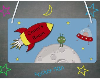 Rocket Door - Wall - Plaque - Child's name, Personalised, Wall Sign, Girls, Boys - FREE POSTAGE
