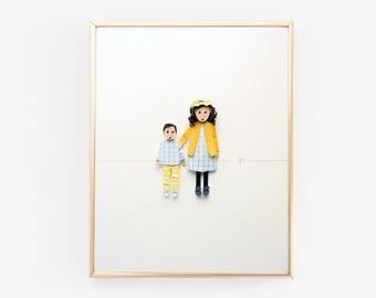 Custom family portrait, portrait of children, back to school portrait, sibling art, gift for sister, gift for brother, gift for parents
