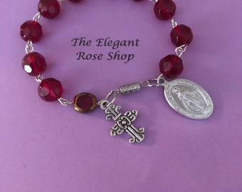 Beautiful One Decade Rosary Bracelet in Red