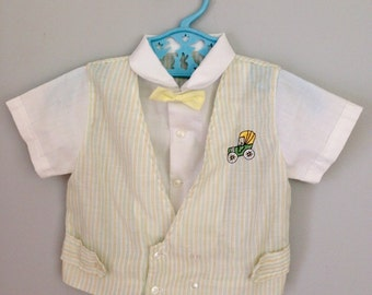 Vintage Old Fashioned Car Baby Boy Bowtie Dress Shirt 6-12 months