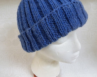 Hand Knitted Adult Ribbed Hat in Lighter, Brighter Blue with Ample Turn Back Brim Free Ship in US