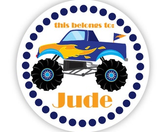 Personalized Name Tag Stickers - Navy Polka Dots Little Blue Monster Truck Name Tag Label Stickers - Round Tags - Back to School Name Labels