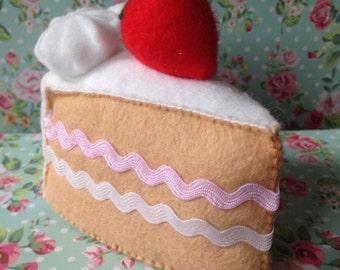 Felt play food - felt cake slice - felt sponge cake - felt Victoria sponge - cake - handmade christmas gift - childrens Christmas gift