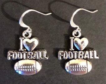 School Spirit I Love Football Earrings