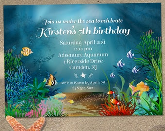 Ocean Reef Under the Sea Birthday Party Invitation; Printable, Evite or Printed (US Only) Invitations
