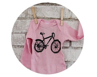 Mountain Bike Long Sleeved Baby Onepiece, Hand Printed  Screenprint Tshirt, Cotton Infant Bodysuit, Girl, Cyclist, Shower Gift, Light Pink