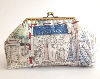 London fabric clutch, Kisslock purse, Make up Cosmetic frame bag, city of London pouch, handmade fabric bag ct020