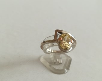 silver ring/ gold/ citrine