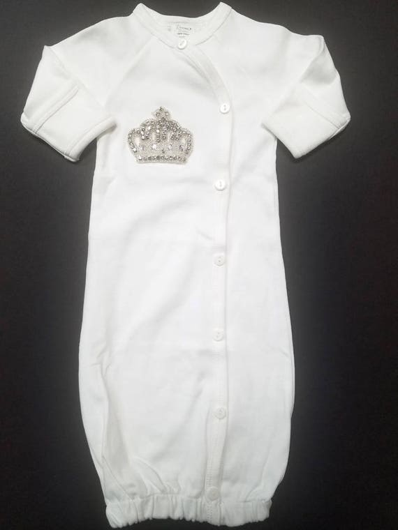 Jewish Baby Boy Brit Milah Gown with Silver Crown & Baby Hat