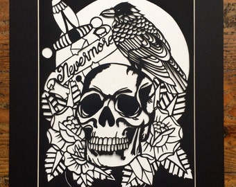 Nevermore skull tatto style raven papercut template for personal use
