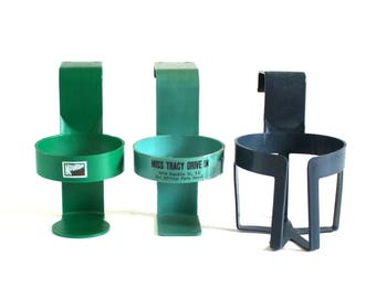 Car Cup Holders Door Auto Window Vintage 1970s 1980s Green Sav A Spill Mountain Dew Logo; Unmarked Turquoise or Dark Blue