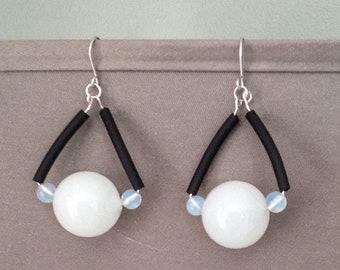 Black and Moonstone Earrings, Glass and Rubber Earrings, Bold Dangle Earrings, Geometric Jewelry, Statement Piece, Moonstone Glass Earrings