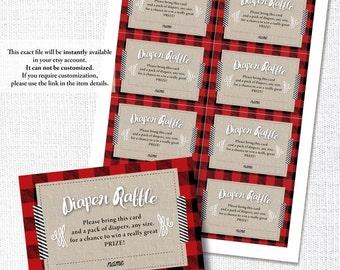 BUFFALO PLAID BABY shower insert card diaper raffle ticket winter rustic plaid baby shower instant digital download diy printable file