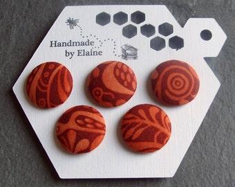 Fabric Covered Buttons - 5 x 22mm Buttons, Handmade Button, Orange Brown Terracotta Pumpkin Saffron Dark Orange Abstract Boho Buttons, 2567