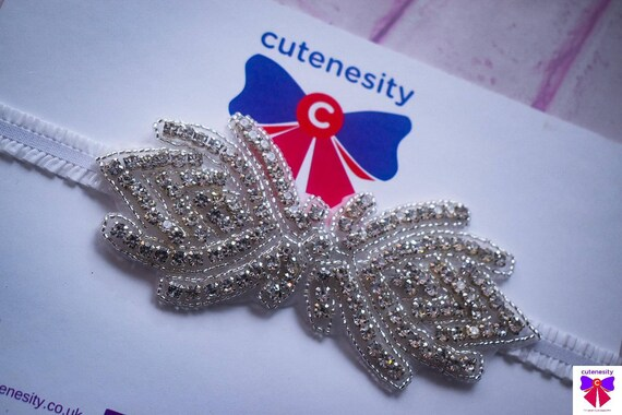 Christening white and silver rhinestone headband - Baby / Toddler / Girls / Kids Headband / Hairband / Hair bow /Baptism /First Communion