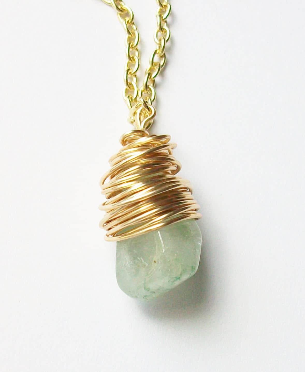 Aquamarine Necklace - Gold Wire Wrap Necklace - Aquamarine Pendant ...