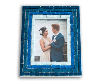 Blue 5x7 Picture Frame in Blue Glass Tiles