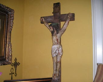 Vintage Jesus Christ 4 + feet, Antique Old War Rescue Church Chrucifix/ Statue from Finland Karelia Ceded to Russia 1940