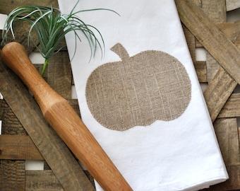 Farmhouse Pumpkin Flour Sack Towel | Fall Flour Sack Towel | Farmhouse Pumpkin Kitchen Towel | Appliqué Fall Towel