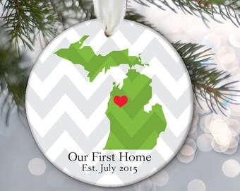 State Love Personalized Christmas Ornament First Home Ornament Housewarming Gift Custom Ornament Personalized New Home Ornament OR348