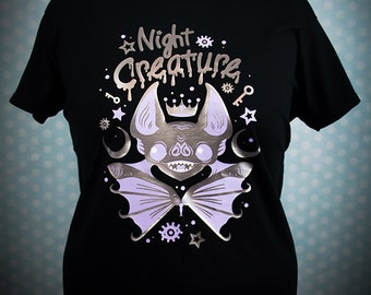 Night Creature Creepy Cute Bat Graphic T Shirt Pastel Goth Fairy Kei