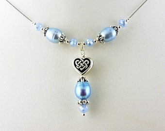 Something Blue Celtic Knot Heart Necklace with Pearls and Crystals