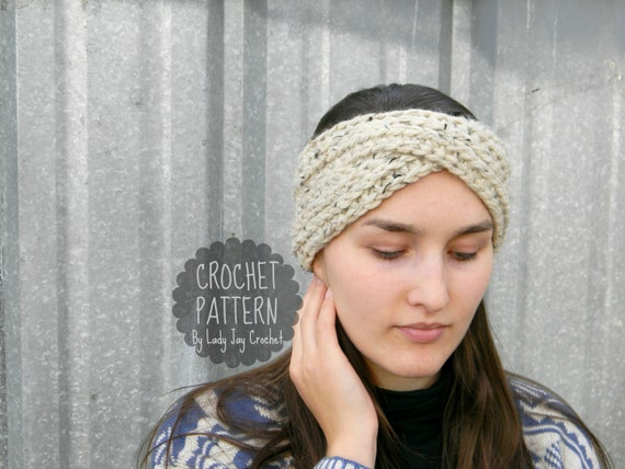 Pattern Aurora Earwarmer Knit Look Turban Headband Chunky Knit