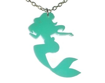 Ariel Necklace The Little Mermaid Laser Cut Necklace Turquoise Disney Princess Mermaid