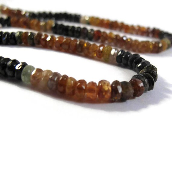 Petrol Tourmaline Beads, Faceted Rondelles, 4.2mm, 14 Inches of Micro faceted Gemstones for Making Jewelry (R-Tou5a)