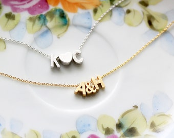 Uppercase Initials Bracelet - Silver Gold Initial Chain Custom Bridal Gift Personalized Bridesmaid Wedding Initial Personalized Gifr for Her