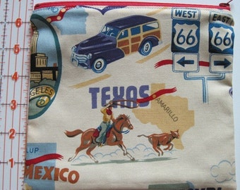Lined Cosmetic Zipper Pouch - Route 66