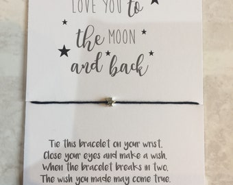 Love You To The Moon And Back | Wish Bracelet | Token gift | Gift for her | Gift for Friend